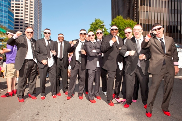 "Men don high heels to ""Walk a Mile in Her Shoes"" this Saturday as a benefit for WEAVE. Photo by Tia Gemmel."